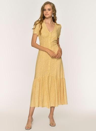 Loves You Desenli Viskon Emprime Elbise Sarı